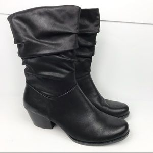 Bare Traps Rhiannon Black Slouchy Heeled Boots 9M